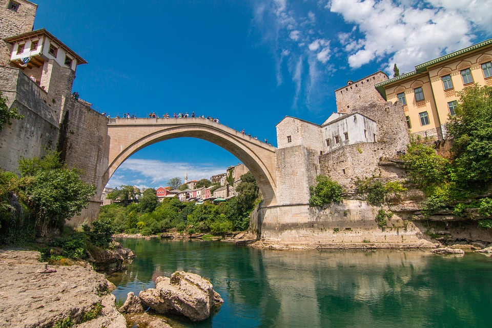 The historic Old Bridge in Mostar is a symbol of this small town